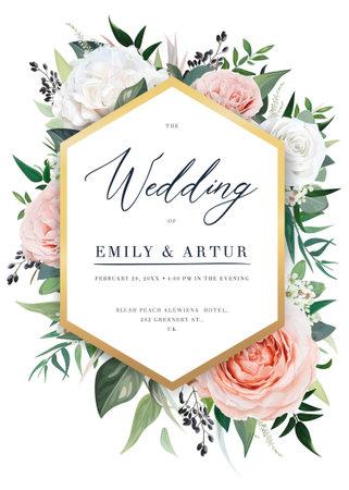 Elegant vector floral wedding invite card design. Beautiful blush peach, dusty pink garden Rose, eucalyptus greenery, tidewater green leaves, berries bouquet and modern golden hexagonal frame template