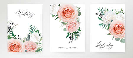 Elegant, watercolor floral bouquet card, wedding invite set. Blush peach, pink, ivory Rose flowers, Eucalyptus greenery, navy berries, green forest leaves vector illustration. Editable tender template Illustration