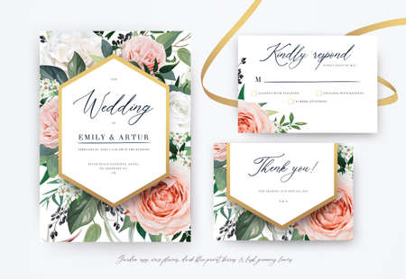 Stylish floral watercolor vector invite, rsvp, thank you card design. Blush, peach, dusty pink, ivory white garden Roses, wax flowers, green Eucalyptus leaves, berries bouquet and luxury, golden frame