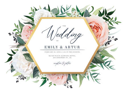 Gorgeous floral vector wedding invite, party invitation, greeting card template. Blush peach, light pink and white garden roses, berry, eucalyptus foliage, leaves, golden frame watercolor illustration
