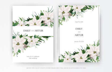 Classy winter season wedding floral invite, invitation, greeting card editable vector art template set. White Poinsettia flower, Christmas spruce tree, Eucalyptus greenery leaves, wreath bouquet frame Ilustração