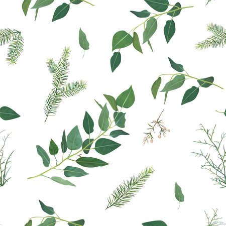 Tender, vector winter Christmas spruce tree branches, eucalyptus greenery leaves, green foliage, herbs seamless pattern. Rustic forest natural watercolor textile fabric, wallpaper, texture, background Ilustração