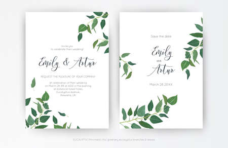 Wedding modern, minimalist style Invitation, floral invite card design: natural greenery eucalyptus branches, green leaf decorative pattern. Vector, elegant, botanical, classy, watercolor template set