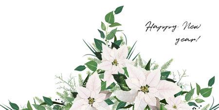 Winter season editable, festive floral wedding invite, invitation, greeting card vector template. White Poinsettia flowers, Christmas spruce tree branches, Eucalyptus greenery, green leaves decoration
