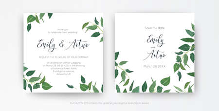 Modern, minimalist style leafy wedding invitation, floral invite card design. Natural eco-friendly eucalyptus greenery branches, green leaves decorative illustration. Vector art botanical template set Ilustração