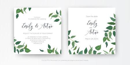 Modern, minimalist style leafy wedding invitation, floral invite card design. Natural eco-friendly eucalyptus greenery branches, green leaves decorative illustration. Vector art botanical template set 일러스트