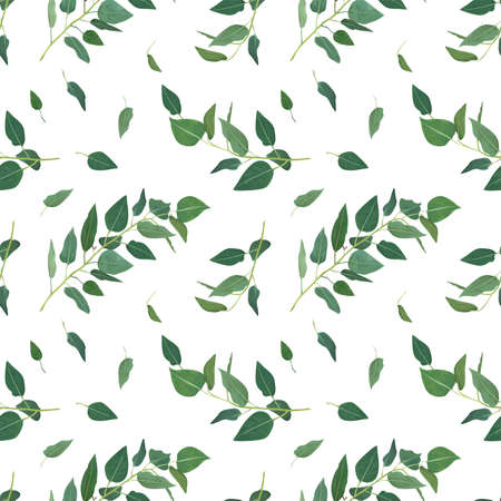 Vector eucalyptus tree branches, greenery leaves, green foliage, seamless pattern. Rustic, natural, floral, watercolor style textile fabric, backdrop, texture, background. Classy, minimalist template Ilustração