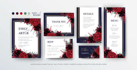 Floral wedding invite, menu, rsvp card editable vector design. Red marsala garden rose flowers, burgundy dahlias, eucalyptus leaves, thistle, bouquet, golden frame on navy blue background. Elegant set