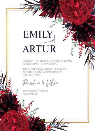 Floral wedding invite, invitation, greeting card editable vector design. Red garden rose flowers, burgundy dahlias, eucalyptus leaves, navy agonis, astilbe, thistle and marsala cowberry bouquet frame Ilustração