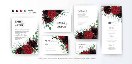 Elegant burgundy red & greenery floral vector art set. Wedding invite, rsvp, menu, place card, save the date cards with garden rose flower, dahlias, astilbe, eucalyptus green leaves & herbs decoration