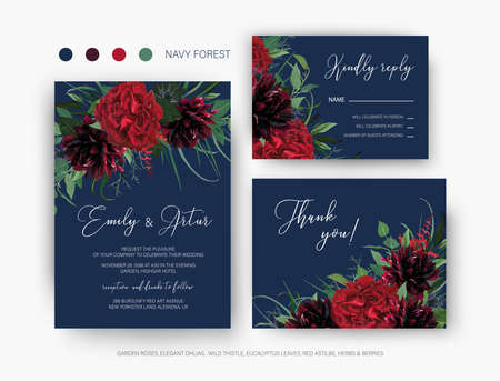 Burgundy red and greenery floral wedding vector set. Invite, rsvp, thank you card. Elegant red garden rose flower, wine dahlias green eucalyptus leaves, herbs wreath decoration on navy blue background Ilustração
