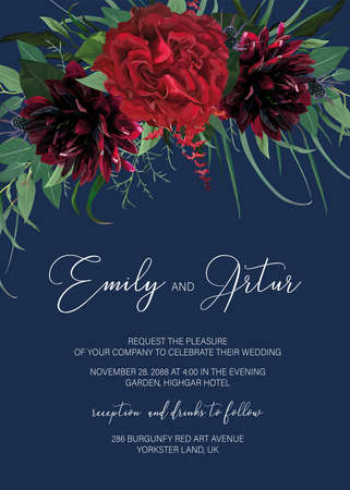Elegant floral watercolor style wedding invite, greeting card. Burgundy dahlias, red Rose flower, thistle, eucalyptus leaves greenery, vector illustration. Stylish, chic botanical art template design