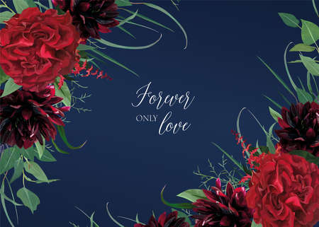 Luxury, stylish floral watercolor style wedding invitation, greeting, banner design. Stylish burgundy dahlias, red Rose flowers, greenery eucalyptus leaves wreath frame. Editable, vector illustration 일러스트