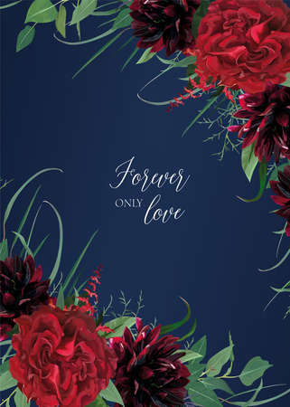 Stylish watercolor style wedding invitation, invite, greeting, banner, postcard template design. Burgundy dahlia flowers, elegant red garden Rose flower, greenery eucalyptus leaves wreath lovely frame