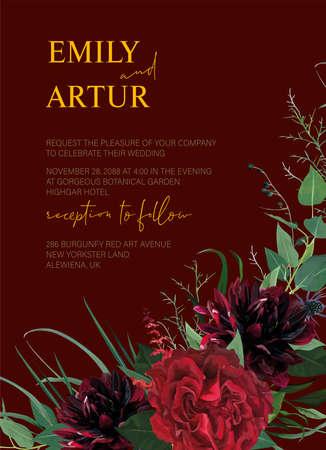 Modern colorful watercolor style wedding invitation editable template design. Burgundy dahlia flowers, elegant red garden Roses, greenery eucalyptus leaves wreath decoration. Vector art illustration