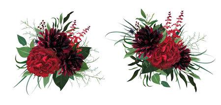 Beautiful luxurious burgundy red, green watercolor style vector bouquet. Garden roses, dahlia flower, greenery eucalyptus leaves, herbs, thistle, berry lovely, editable, designer element illustration Иллюстрация