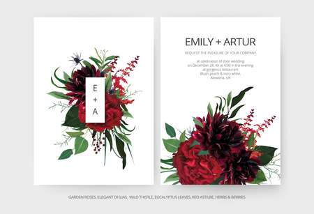 Modern minimalist wedding invite cards editable template set. Burgundy dahlia flowers, elegant red garden Rose, greenery eucalyptus leaves bouquet, berries, thistle decoration. Vector art illustration