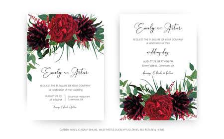 Stylish modern wedding invite cards template set. Burgundy dahlia flower, elegant red color garden Rose, greenery eucalyptus leaves, thistle wreath bouquet decoration. Editable vector art illustration 일러스트