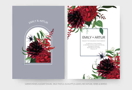 Vector wedding invite cards set. Burgundy dahlia flowers, elegant red color garden Rose, greenery eucalyptus leaves, cute mauve blue thistle bouquet decoration. Modern editable vector art illustration 矢量图像