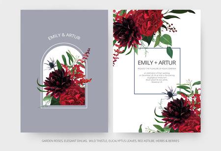 Vector wedding invite cards set. Burgundy dahlia flowers, elegant red color garden Rose, greenery eucalyptus leaves, cute mauve blue thistle bouquet decoration. Modern editable vector art illustration Иллюстрация