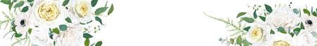 Floral, elegant full elements editable website banner design. Vector illustration: watercolor tender cream yellow Rose, white anemone, ivory wax flowers, eucalyptus green leaves, fern greenery bouquet