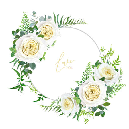 Bright, light yellow and greenery floral editable bouquet set. Elegant cabbage garden roses, maidenhair forest fern, vine branches, eucalyptus leaves vector illustration. Wedding invite, save the date