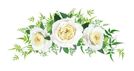 Vector beautiful floral bouquet watercolor illustration. Light yellow elegant, cabbage, garden rose flowers, fern, green vine leaves, eucalyptus. Wedding invite, save the date card editable decoration Иллюстрация