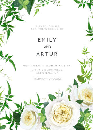 Trendy, greenery wedding floral vector invite, holiday invitation card. Light yellow garden roses flowers, tender smilax greenery leaves, vines, herbs, plants bouquet. Decorative frame, natural border
