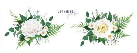 Vector floral greenery bouquet. Lush green tropical eucalyptus leaves, fern, white light yellow rose flowers, camellia, herbs editable watercolor art illustration. Elegant wedding designer element set Иллюстрация