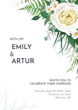 Tropical greenery floral wedding invite, save the date card template. Green fern leaves, tender eucalyptus, light yellow roses and white camellia flowers bouquet border. Editable watercolor vector art