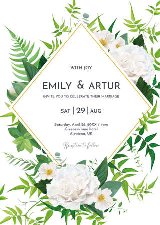 Greenery wedding invite, save the date card design. Lush green fern leaves, tender jasmine vines, elegant roses, white camellia flower bouquet decorative frame. Editable watercolor vector illustration