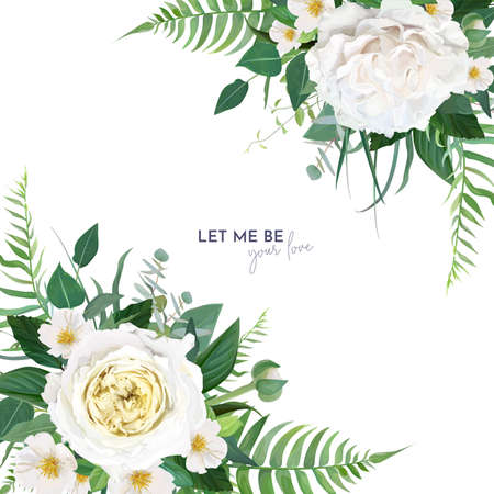 Vector, floral watercolor editable wedding invite, save the date card, banner, greeting design. Green fern leaves, eucalyptus branches, light yellow roses, white camellia flowers bouquet border, frame
