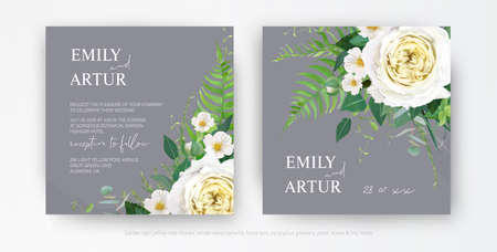 Tender stylish vector floral wedding invite, watercolor save the date card template design. Light yellow rose, white camellia flower greenery tropical forest fern leaf, green eucalyptus bouquet border