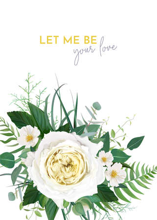 Stylish trendy vector floral wedding invite, save the date card, greeting, poster, banner template design. Yellow rose, white camellia flower, greenery, fern leaf, green eucalyptus branches decoration