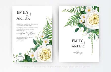 Elegant editable vector watercolor floral wedding invite card template design. Yellow roses, white camellia flowers, greenery fern leaves, green eucalyptus bouquet decorative frame border illustration