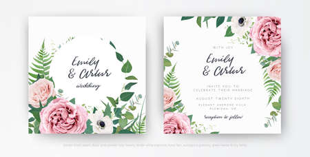 Stylish elegant vector floral watercolor wedding invite, greeting card, save the date template set. Dusty pink, mauve rose, white anemone flowers, eucalyptus leaves, greenery, green fern wreath, frame