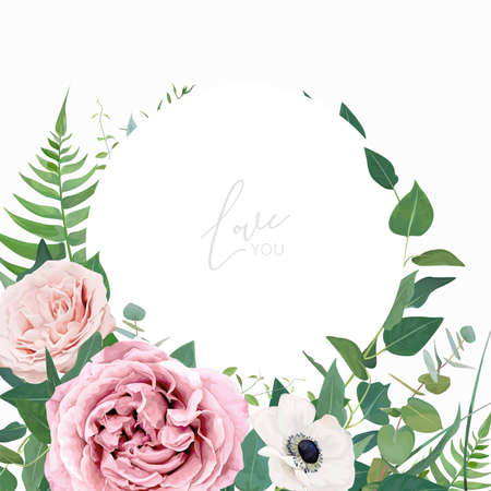 Stylish vector floral watercolor wedding invite, greeting card, save the date card design template. Dusty pink, mauve rose flowers, white anemone, eucalyptus leaves, greenery, green fern wreath, frame Stock Illustratie
