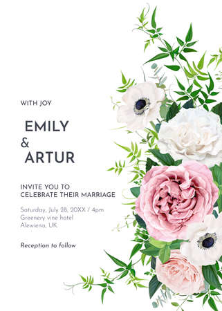 Elegant editable vector floral watercolor wedding invite, greeting card, save the date. Dusty pink mauve, ivory roses, white anemone flowers, eucalyptus blue-green leaves, greenery jasmine vine border