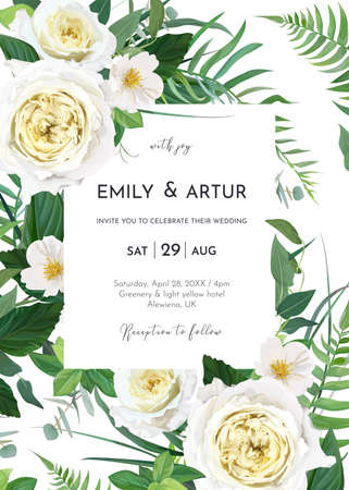 Vector art watercolor style floral wedding invite, invitation, save the date card, poster template design. Yellow roses, white camellia flowers, greenery fern leaves, green eucalyptus decorative frame