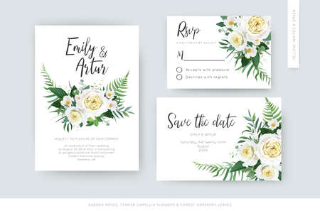 Elegant vector art watercolor floral wedding set: invite, rsvp, save the date card template. Yellow white rose, camellia flower, greenery eucalyptus, green forest fern leaves, botanical wreath bouquet Vettoriali