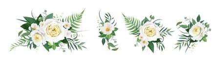 Vector floral bouquet watercolor illustration. Yellow garden rose, white camellia flower, green tropical eucalyptus leaves, fern, ranunculus illustration. Elegant editable wedding designer element set