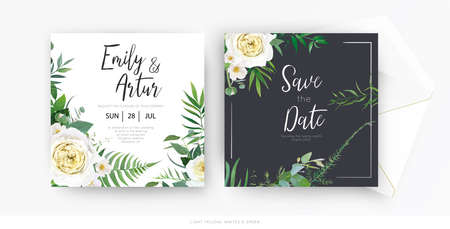 Stylish vector floral watercolor wedding invite save the date set card template set. Yellow, white roses, camellia flowers, greenery eucalyptus, green forest fern leaves, herbs botanical frame, border