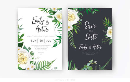 Vector, botanical, floral wedding invite, save the date card template set. Yellow, white rose, camellia flower, greenery eucalyptus, green forest fern leaves, herbs watercolor illustration decoration