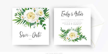 Elegant floral wedding invite, save the date card vector template set. Tender white yellow rose, beauty camellia flowers, greenery eucalyptus, green palm leaves, herbs. Watercolor bouquet illustration