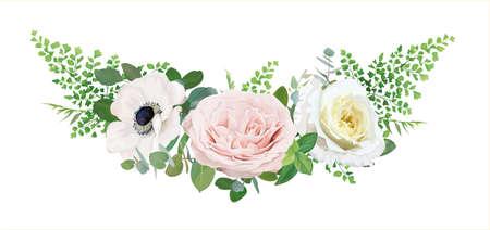 Vector editable floral bouquet illustration. White anemone flower, pink quartz, light yellow roses, fern leaves, eucalyptus branches. Wedding beautiful invitation, save the date card. Designer element Иллюстрация