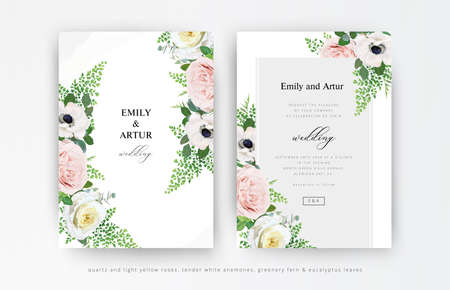 Vector floral wedding invitation, invite, save the date card set. Dusty pink and light yellow roses, white anemone, fern leaves, eucalyptus greenery bouquet decorative frame. Elegant editable template
