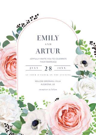 Modern elegant vector floral wedding invitation, invite, save the date card. Blush pink, peach, ivory garden roses, white anemone flowers, fern leaves, eucalyptus wreath. Vintage decorative arch frame