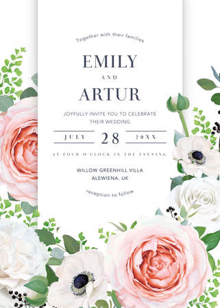 Elegant and stylish floral wedding invite, save the date card design. Vector watercolor illustration. Pink, white rose flowers, anemones, eucalyptus leaves, berries. Editable postcard, banner template