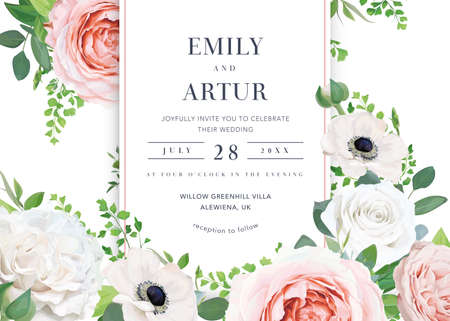 Tender stylish floral wedding invite, save the date, greeting card, banner template design. Pink, white rose flowers, anemone, eucalyptus leaves, berries. Editable vector watercolor style illustration Иллюстрация