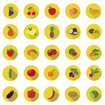 Vegetables and fruit icons.